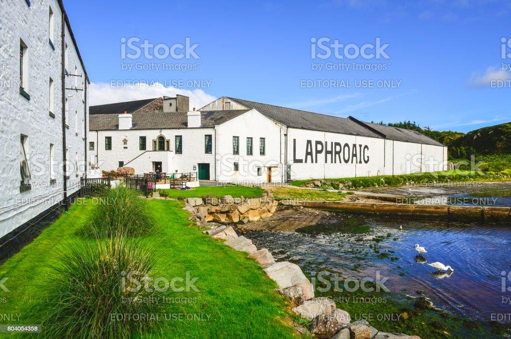 Laphroaig distillery factory, Islay, United Kingdom stock photo