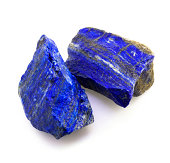 Lapis lazuli rough rocks on white bacground.