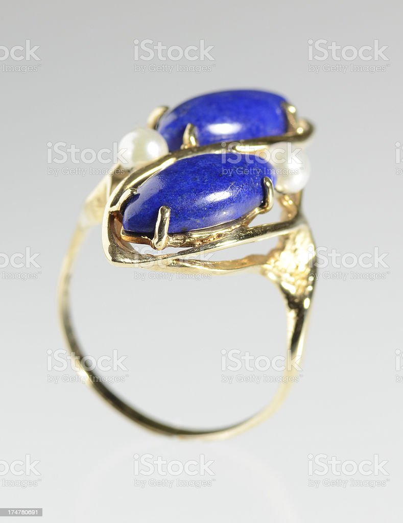 Lapiz Lazuli and Pearl Ring stock photo