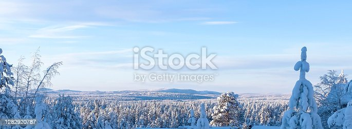istock Lapland nature, winter landscape. Snow-covered trees and a mountain on the horizon. Panoramic photo 1282920787