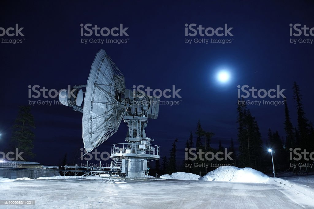 Lapland Sweden, Kiruna, Satellite dish royalty-free stock photo