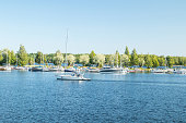 Lappeenranta, Finland - August 7, 2019: Lappeenranta port with yachts and boats on a sunny summer day