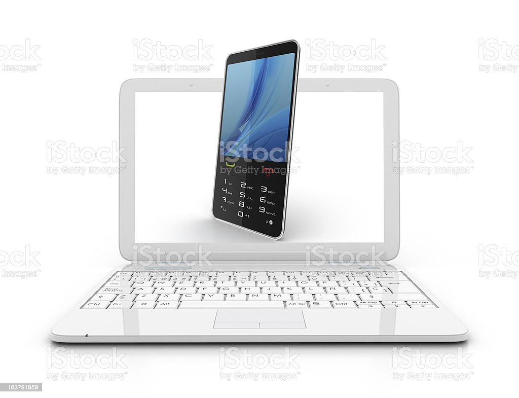 Laptop- 3d mobile phone royalty-free stock photo