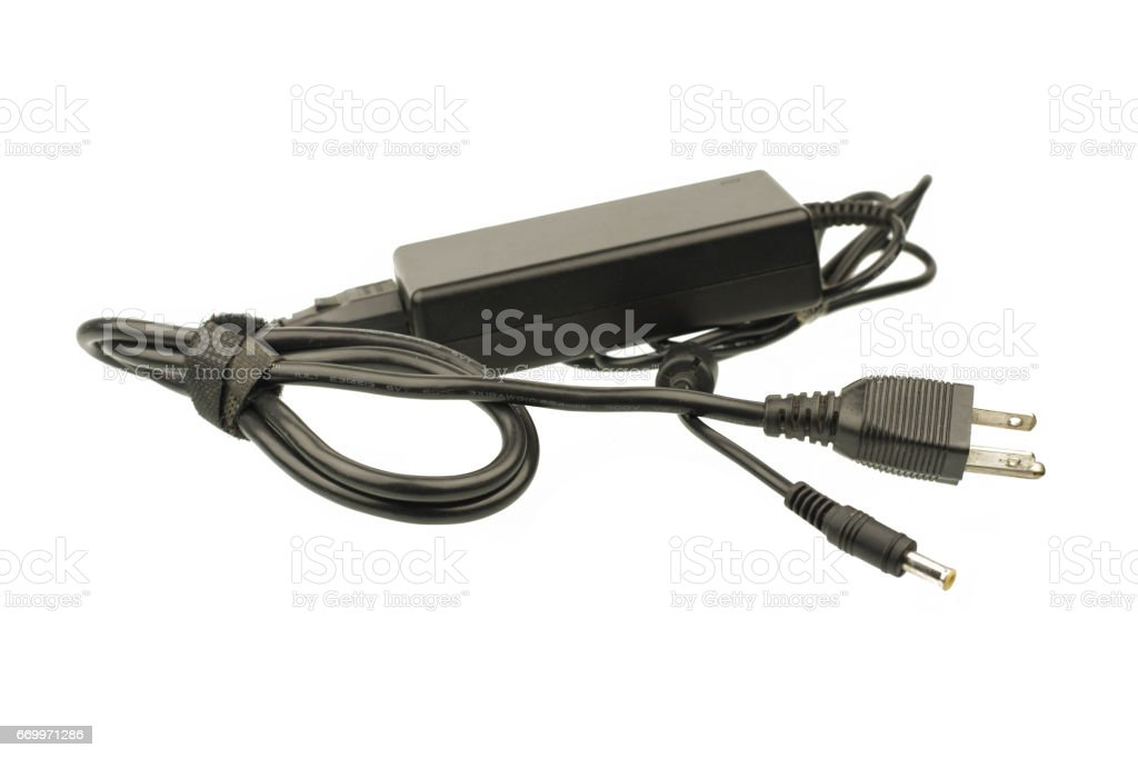 Laptop AC adapter isolated on white background stock photo