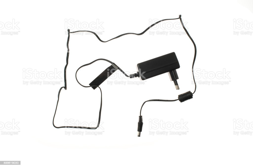 Laptop AC-Adapter On White Background stock photo