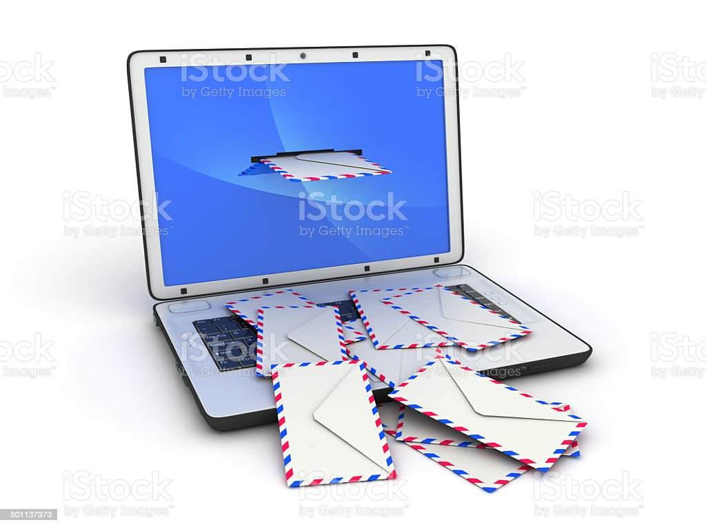 Laptop and abstract e-mail royalty-free stock photo