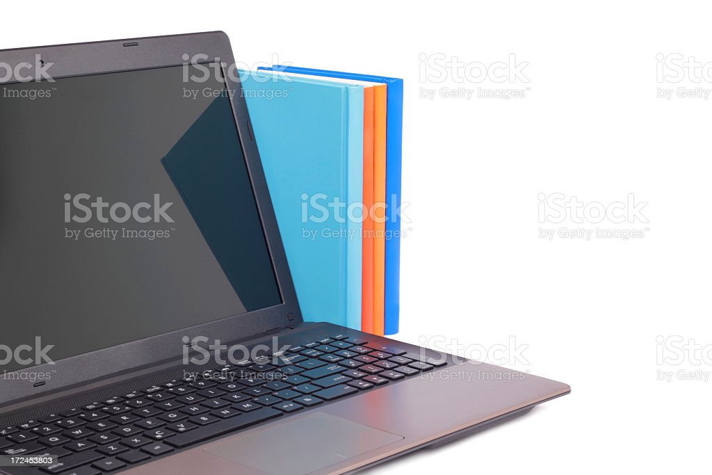 Laptop and books royalty-free stock photo