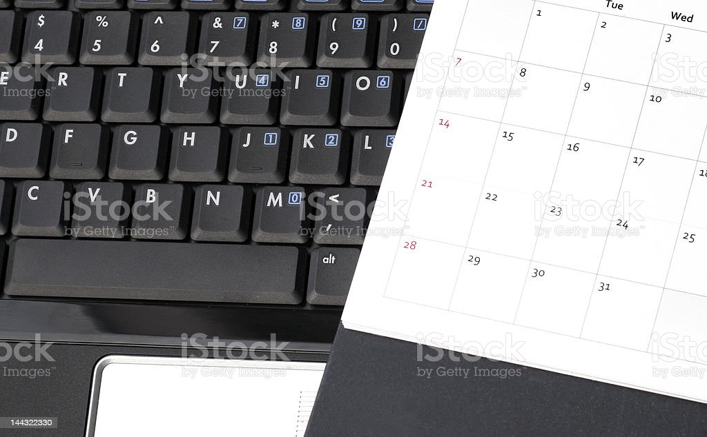 Laptop And Calendar royalty-free stock photo