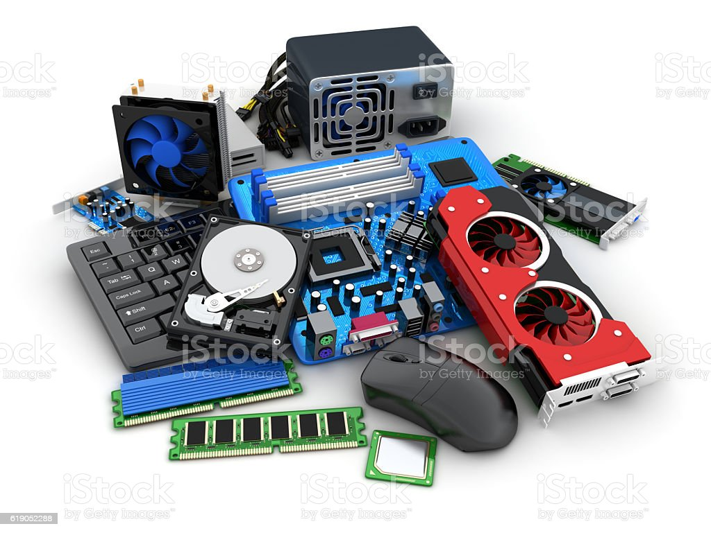 Laptop and computer parts stock photo