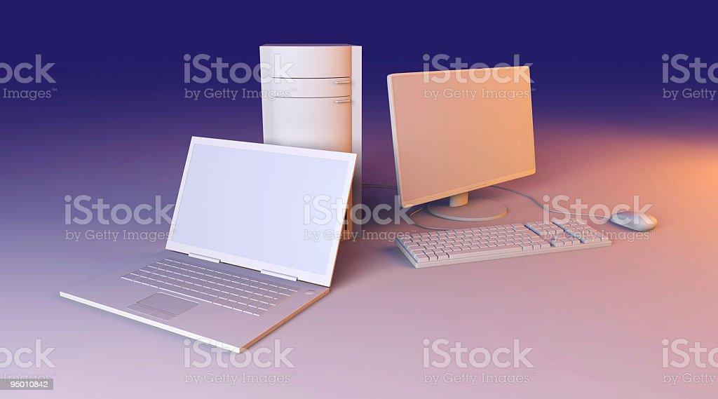 Laptop and Desktop PC royalty-free stock photo