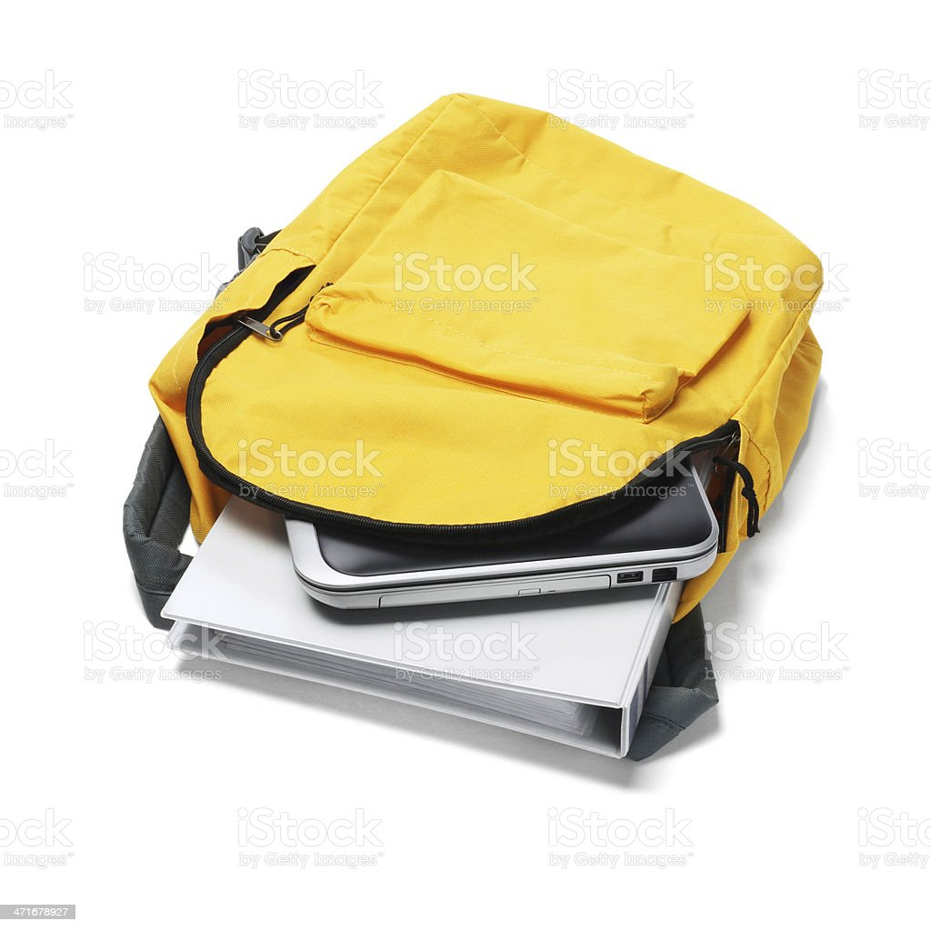 Laptop And File In Backpack stock photo
