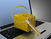 istock 3D laptop and files concept . 1180180037