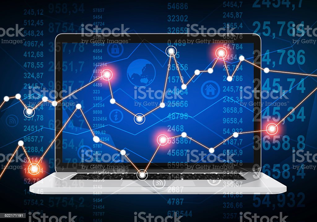 laptop and financial chart with glowing points on abstract background. stock photo
