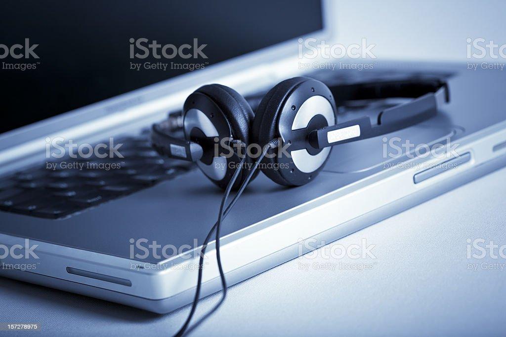Laptop and Headphone stock photo