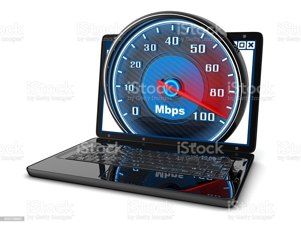 Laptop and internet speed stock photo