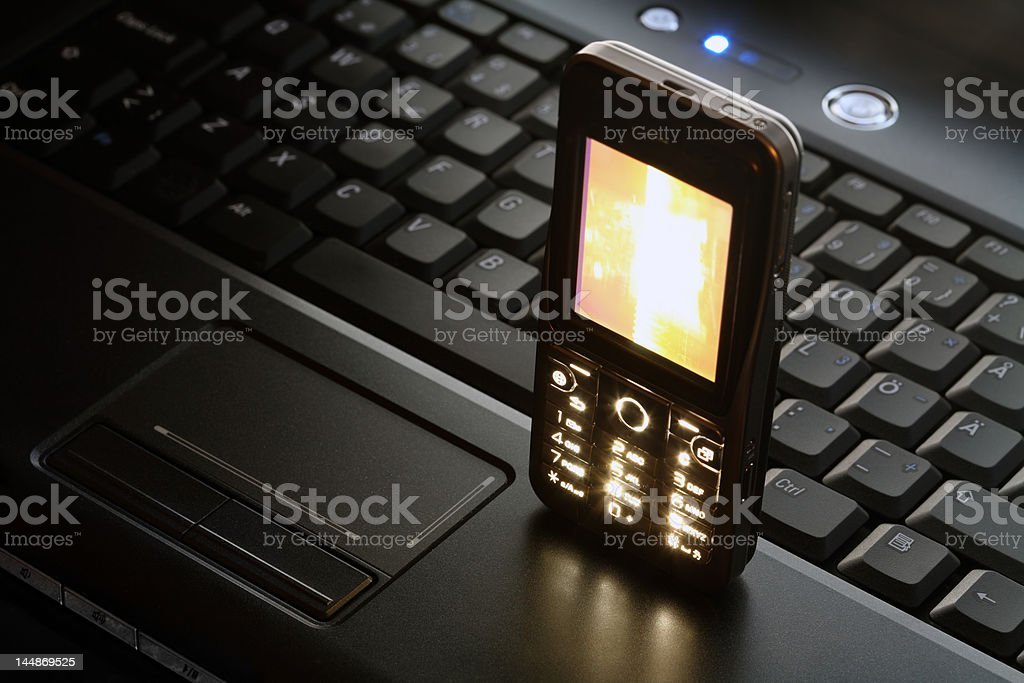 Laptop and Mobile Phone royalty-free stock photo