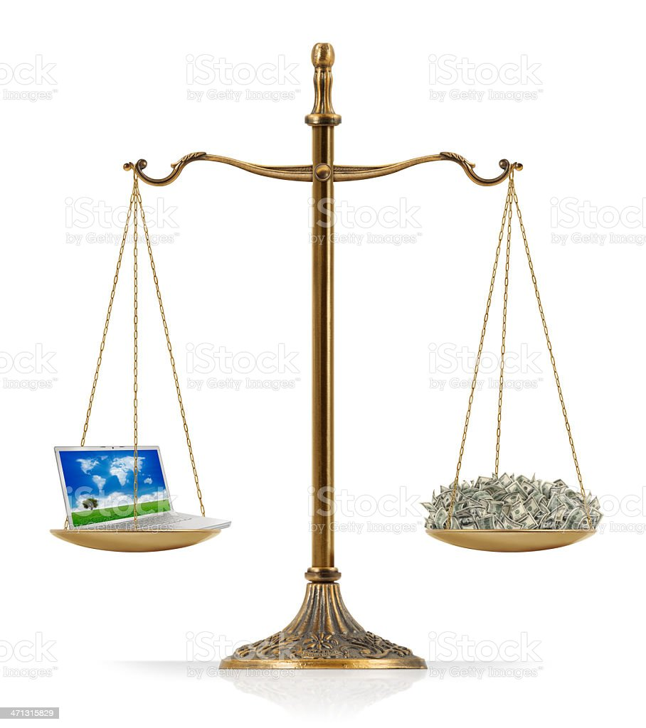 """Laptop and Money Balance There is portable computer (laptop) at the one side of """"Scales of Justice"""" while there is money on the other side. Laptop and money are equal weighted. Isolated on white background. American One Hundred Dollar Bill Stock Photo"""