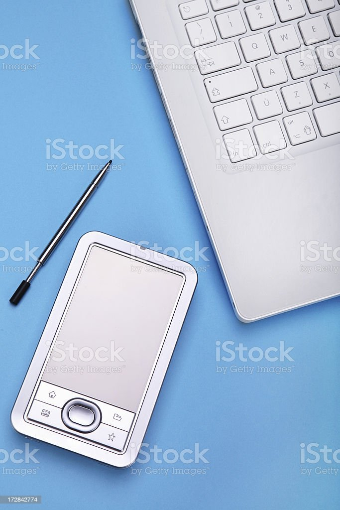 Laptop and palm royalty-free stock photo