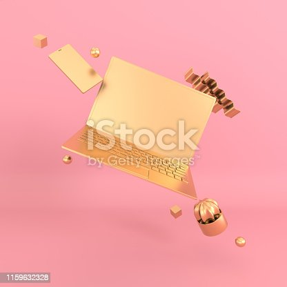 istock Laptop and phone mock-up background in modern minimal style. Notebook, smartphone and cactus 3d render. Technology gadget concept. Pastel and gold colors 1159632328