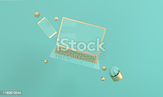 istock Laptop and phone mock-up background in modern minimal style. Notebook, smartphone and cactus 3d render. Technology gadget concept. Pastel and gold colors 1160870044