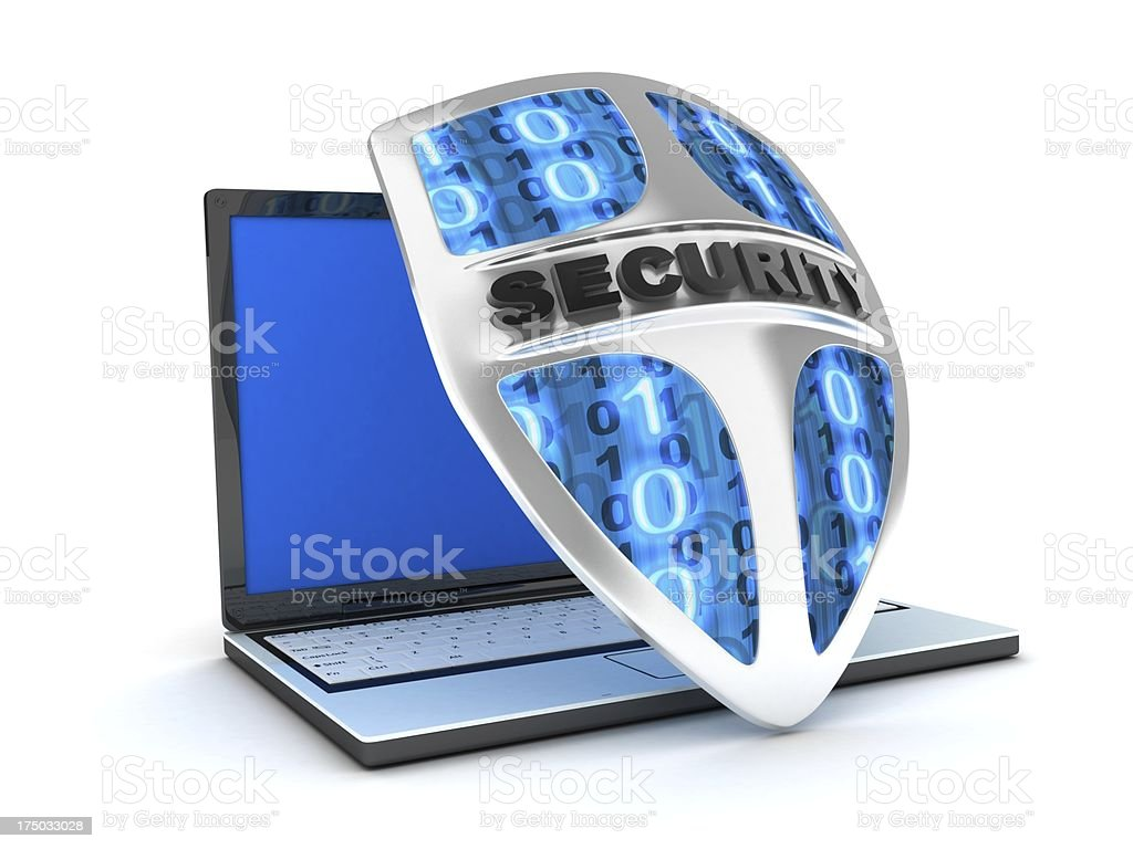 laptop and shield antivirus royalty-free stock photo