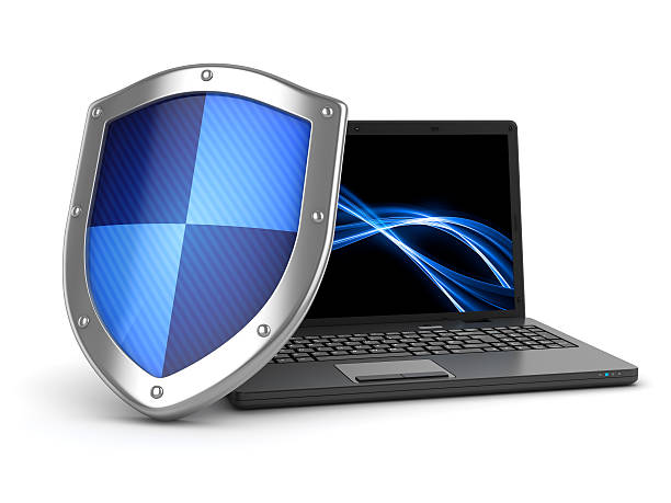 Laptop and shield Laptop and shield , This is a computer generated and 3d rendered image. shielding stock pictures, royalty-free photos & images