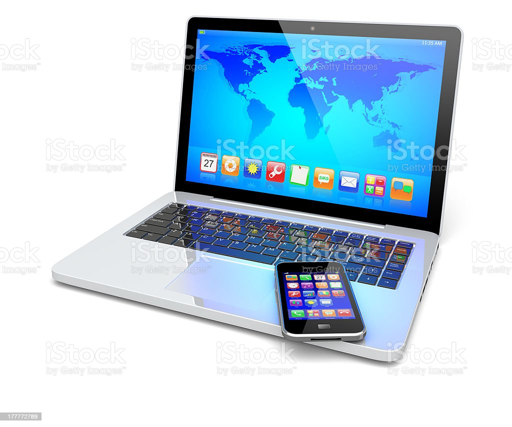 Laptop, and smartphone royalty-free stock photo
