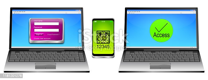 istock Laptop and Smartphone with Two Factor Authentication - 3D illustration 1181201276