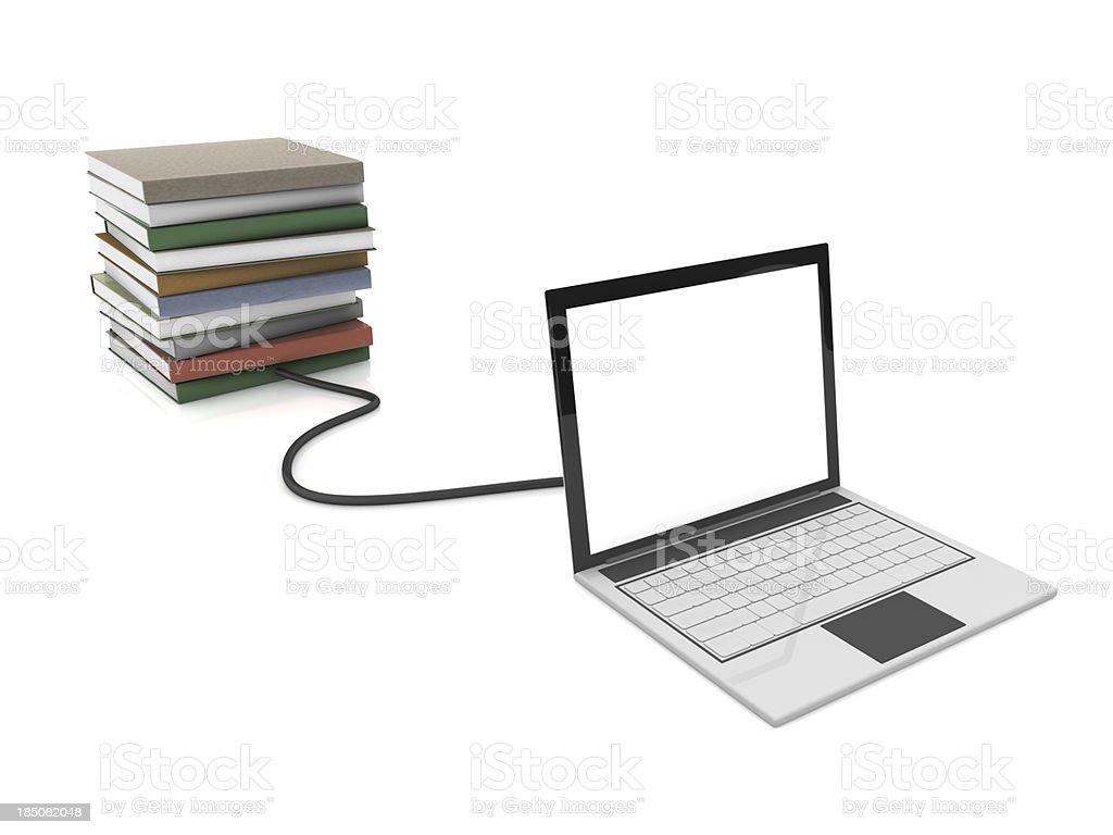Laptop e pilha de livros - foto de acervo