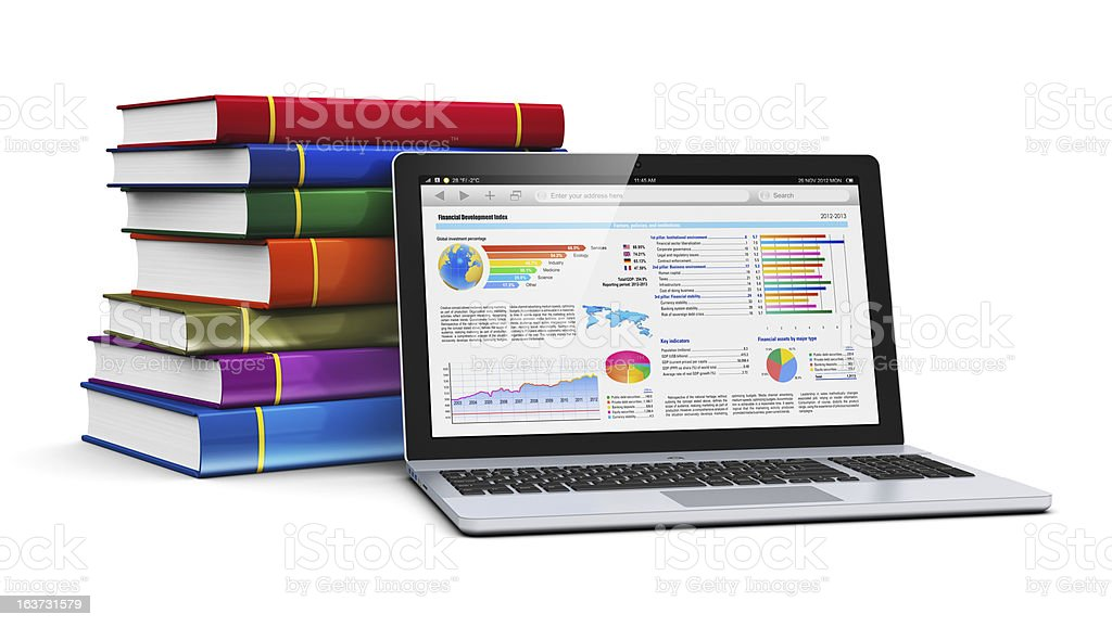 Laptop and stack of color books royalty-free stock photo