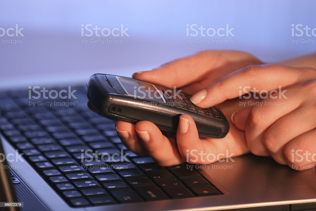 Laptop and Telephone royalty-free stock photo