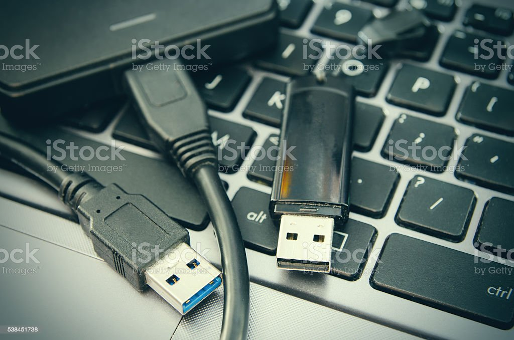 laptop and usb stock photo