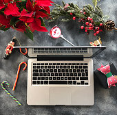 Laptop and Xmas Flat Lay