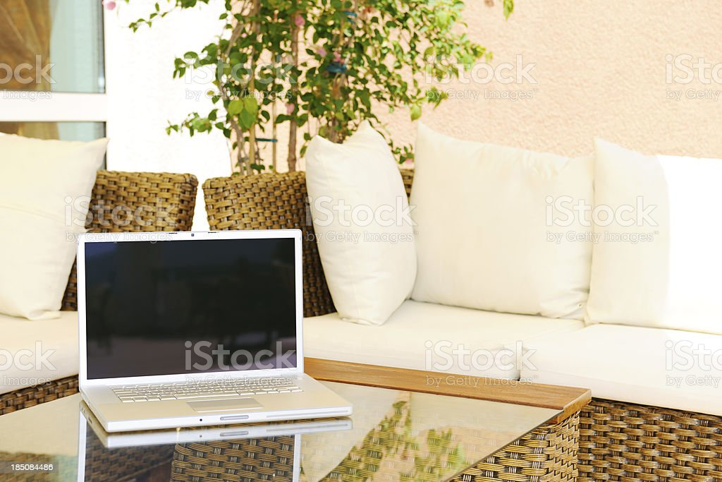 Laptop at coffee shop royalty-free stock photo