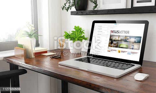laptop at home office newsletter 3d rendering