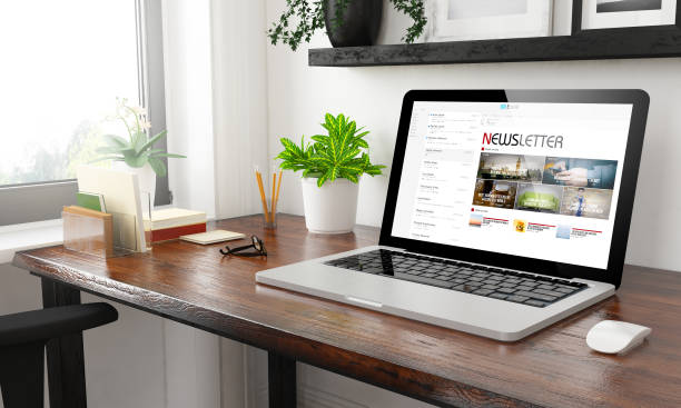 laptop at home office newsletter laptop at home office newsletter 3d rendering newsletter stock pictures, royalty-free photos & images