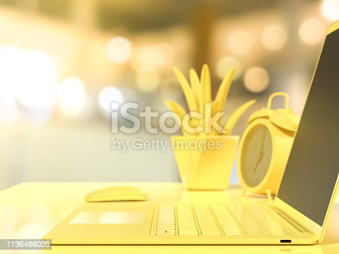 istock Laptop background Selective focus on work desk 1136466026