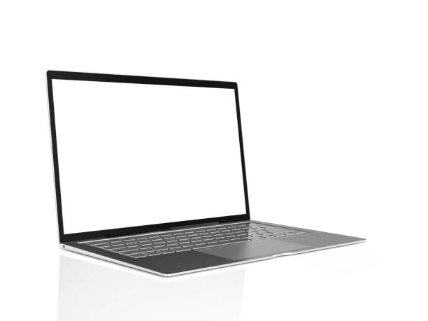 Laptop background with blank screen isolated Laptop background with blank screen isolated on white background. clipping path and mock-up for your text, 3d render. laptop white background stock pictures, royalty-free photos & images