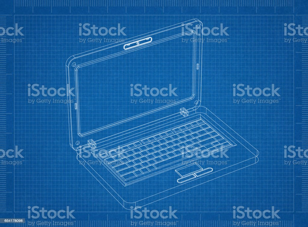 Laptop Blueprint– 3D perspective stock photo
