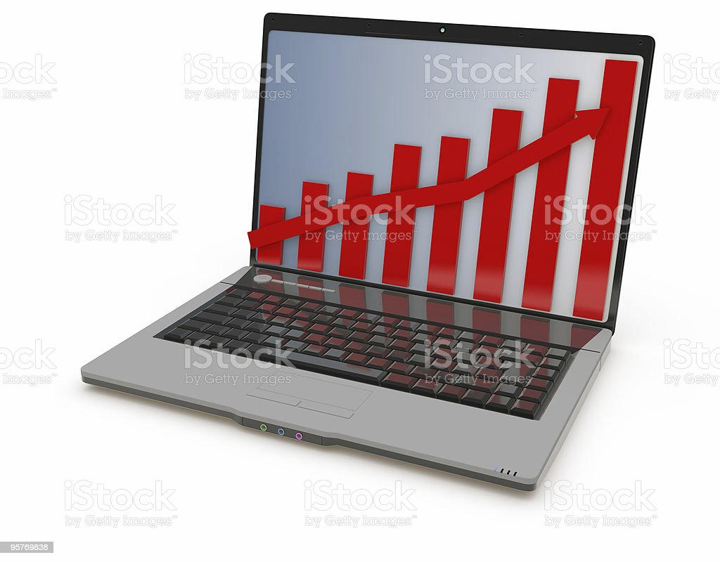 laptop , chart screen royalty-free stock photo