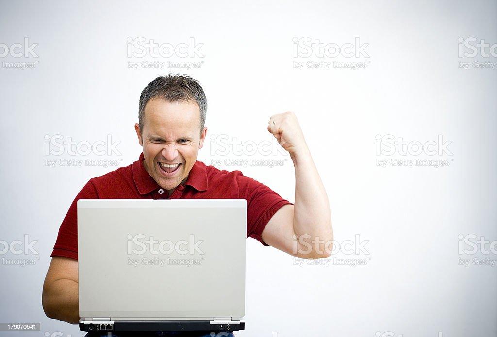 Laptop Cheer stock photo