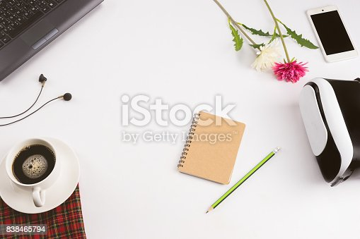 487354658 istock photo Laptop coffee smartphone Pencil on white back ground 838465794