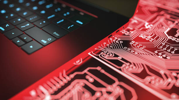 laptop computer and circuit board. stock photo