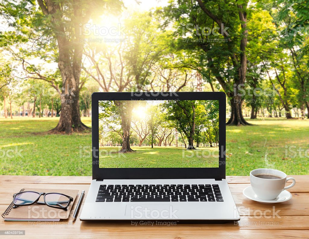laptop computer and coffee on wood workspace and park background stock photo