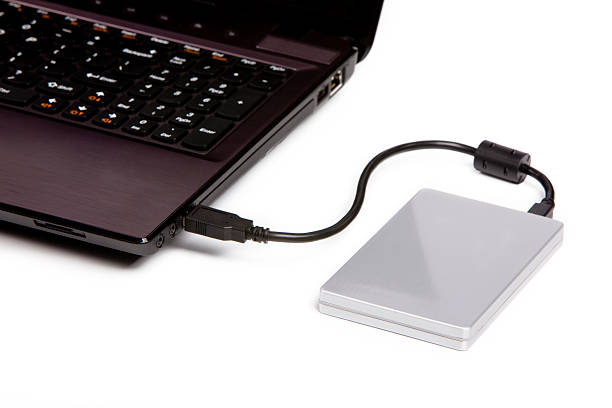 Laptop Computer and External USB Hard Drive Laptop Computer and External Hard Drive external hard disk drive stock pictures, royalty-free photos & images