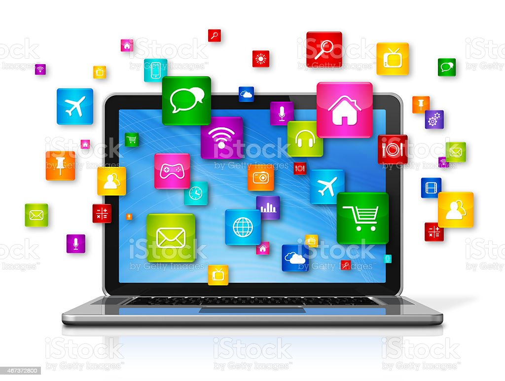 Laptop Computer and flying apps icons stock photo