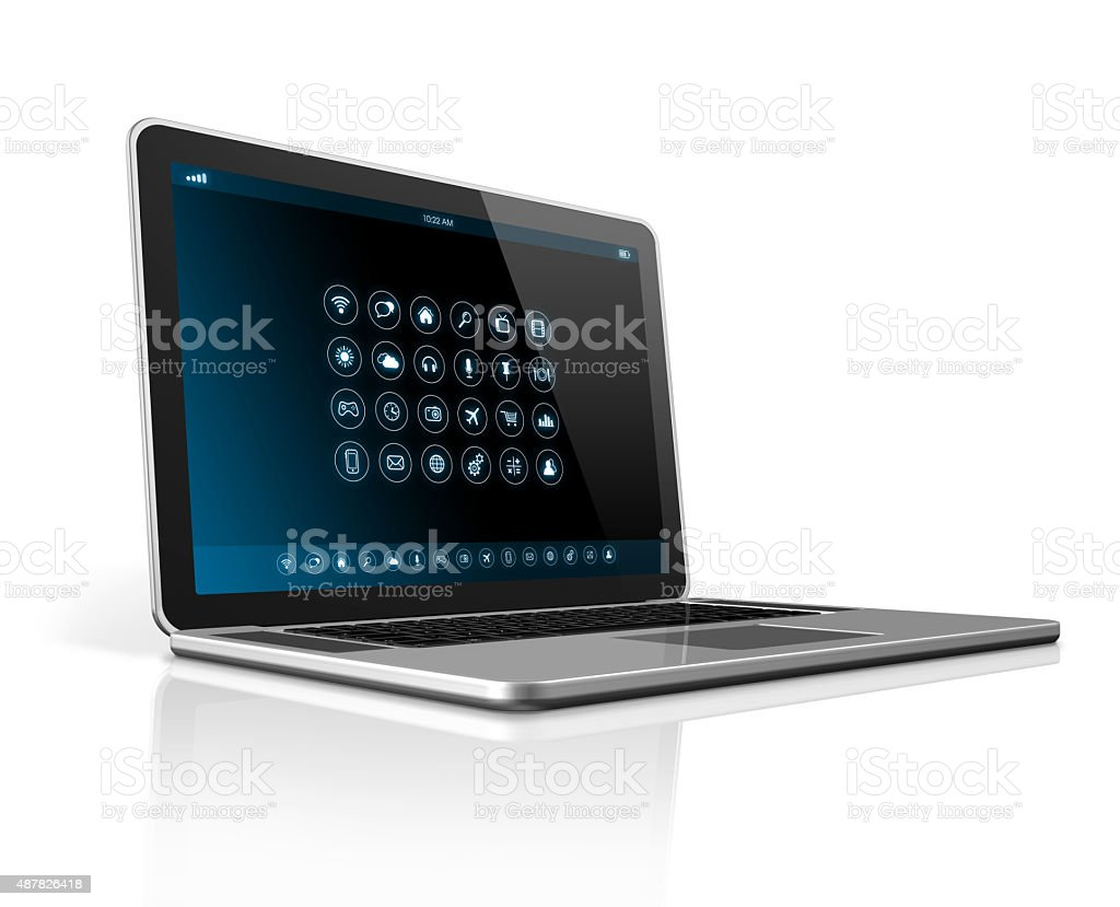 Laptop Computer - apps icons interface stock photo