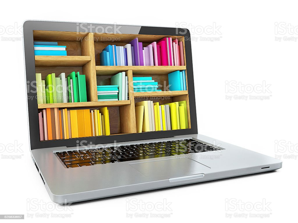 Laptop Computer Bookcase with Multicolor e-books isolatedy stock photo