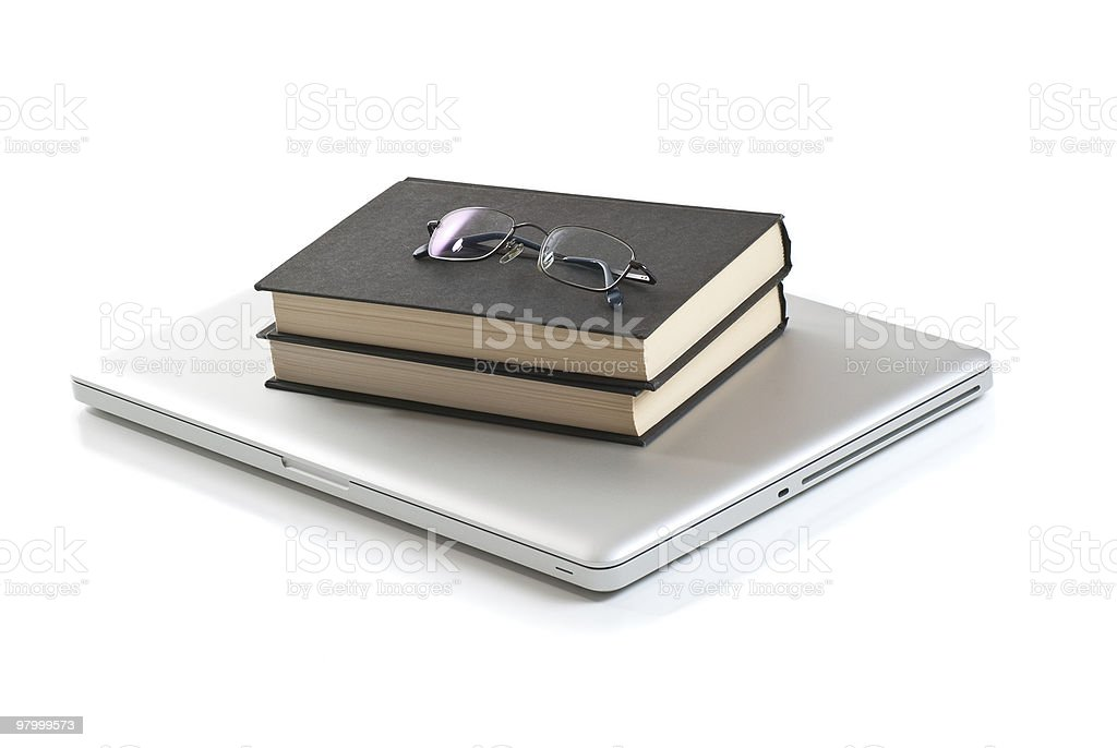 Laptop Computer, Books and Glasses royalty-free stock photo