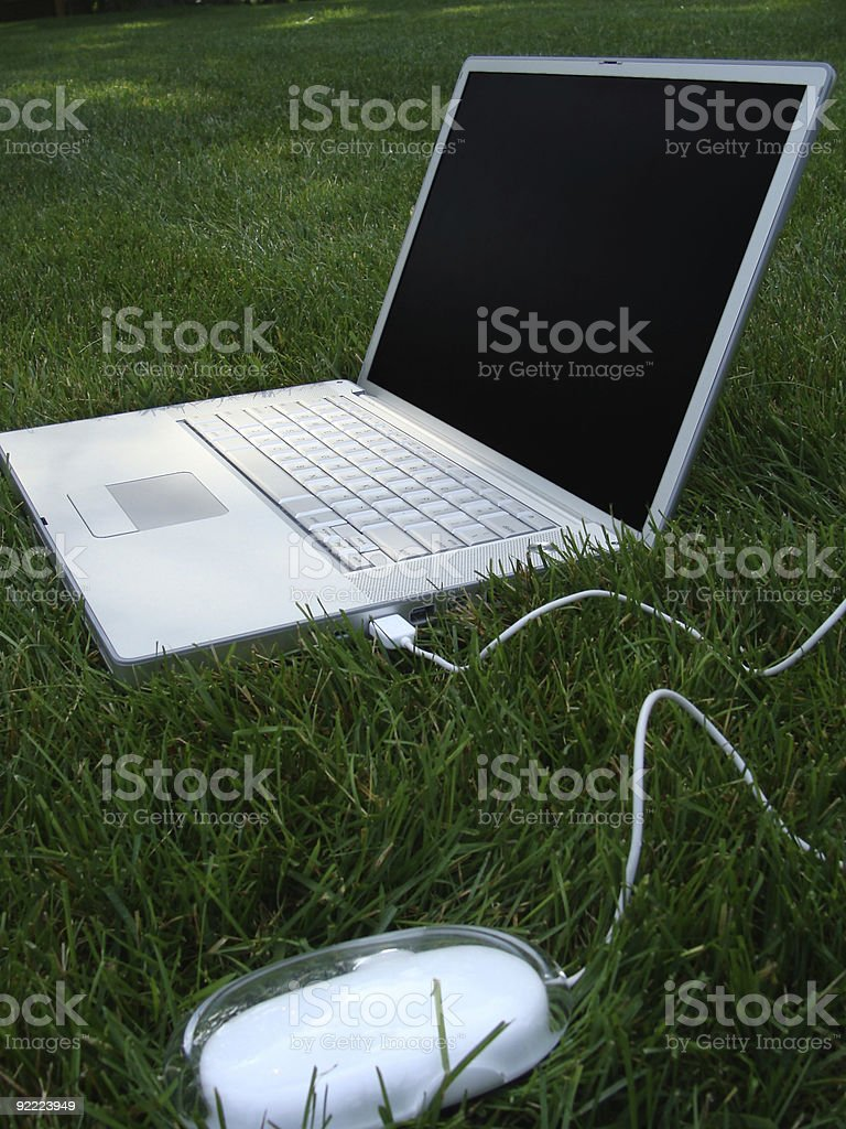 Laptop computer in the grass and see others below!! royalty-free stock photo